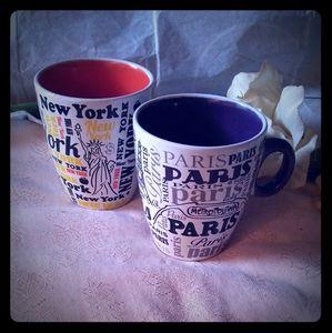 Vintage New York & Paris Ceramic Mugs